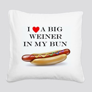 I Love Wiener Square Canvas Pillow