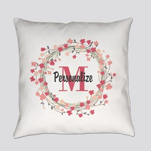 Personalized Floral Wreath Everyday Pillow