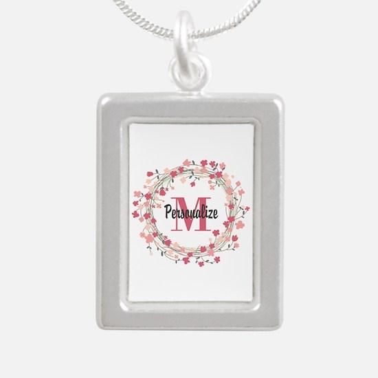 Personalized Floral Wrea Silver Portrait Necklace