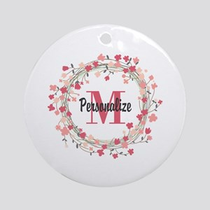 Personalized Floral Wreath Round Ornament
