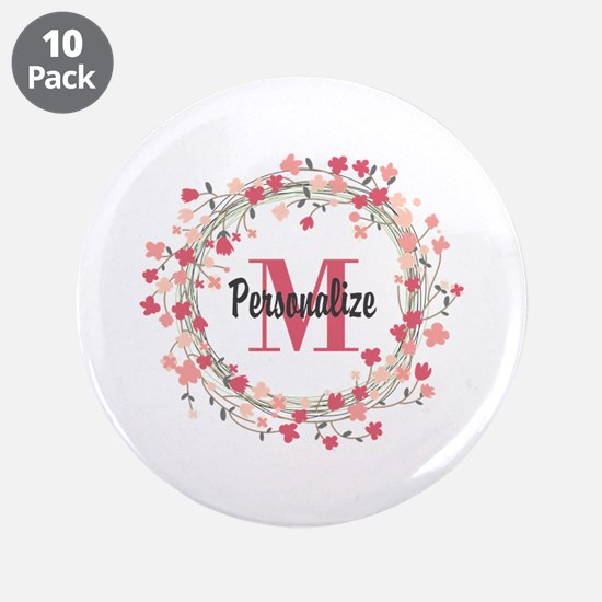 "Personalized Floral Wreath 3.5"" Button (10 pack)"
