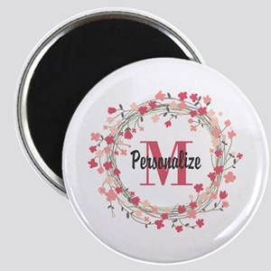 Personalized Floral Wreath Magnet