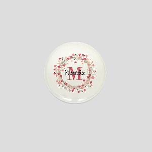 Personalized Floral Wreath Mini Button