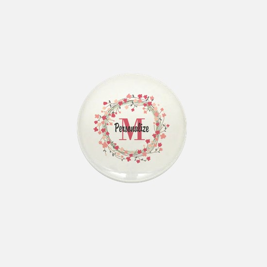 Personalized Floral Wreath Mini Button