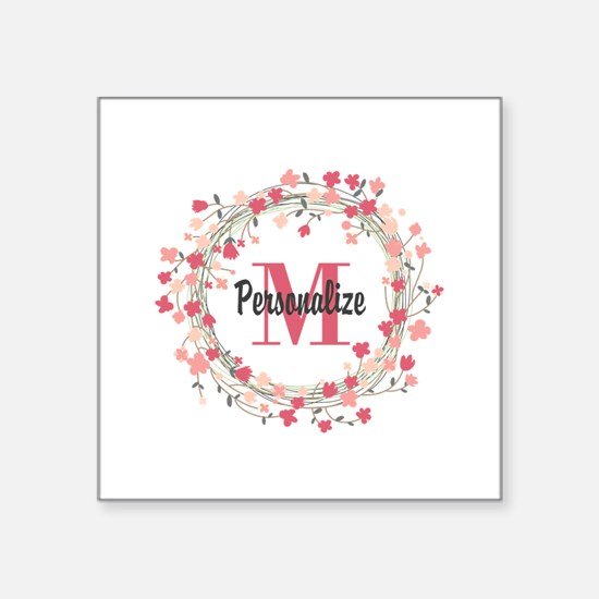 "Personalized Floral Wreath Square Sticker 3"" x 3"""