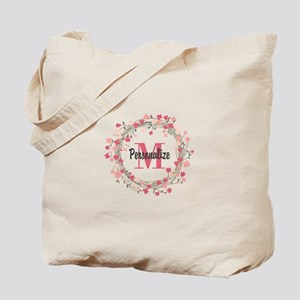 Personalized Floral Wreath Tote Bag