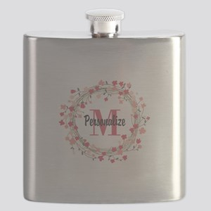 Personalized Floral Wreath Flask