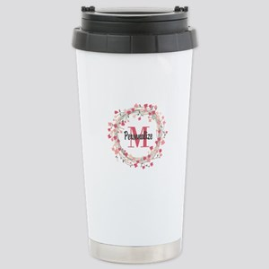Personalized Floral Wre Stainless Steel Travel Mug