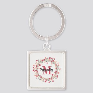 Personalized Floral Wreath Square Keychain