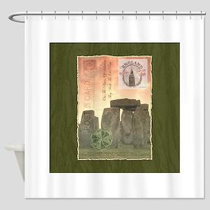 Stonehenge Postcard Collage Shower Curtain