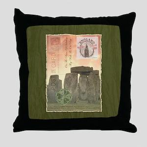 Stonehenge Postcard Collage Throw Pillow