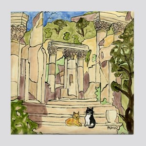 Tile Coaster, Ephesus, Turkey, with Cats