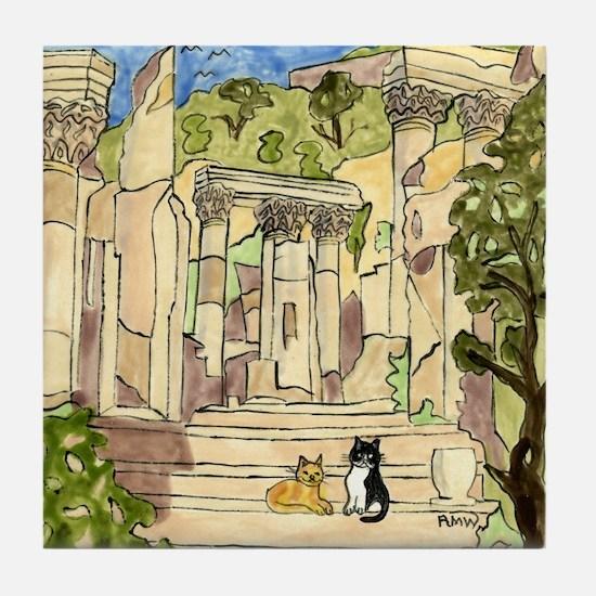 Tile Coaster, Ephesus, Turkey, with Cats