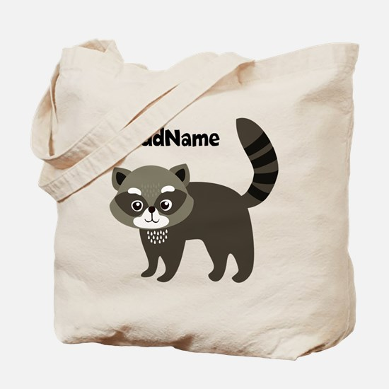 Personalized Name Mr. Raccoon Kid's Tote Bag