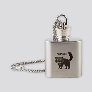 Personalized Name Mr. Raccoon Kid's Flask Necklace