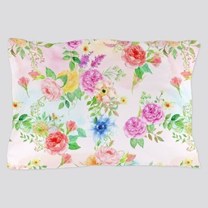 Watercolor pink, peach and pruple rose Pillow Case