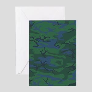 Twilight Green Camo Greeting Cards