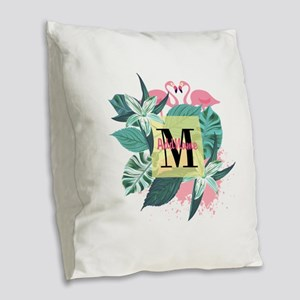 Personalized Flamingo Monogram Burlap Throw Pillow