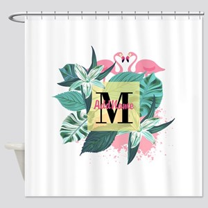 Personalized Flamingo Monogrammed Shower Curtain