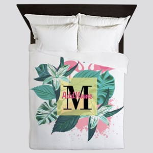 Personalized Flamingo Monogrammed Queen Duvet