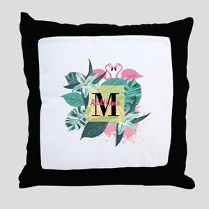 Personalized Flamingo Monogrammed Throw Pillow