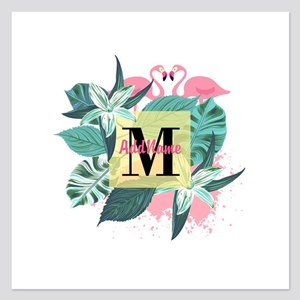 Personalized Flamingo Monog 5.25 x 5.25 Flat Cards