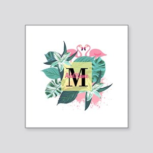 "Personalized Flamingo Monog Square Sticker 3"" x 3"""