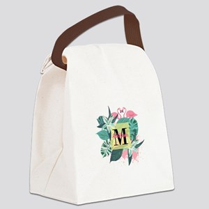 Personalized Flamingo Monogrammed Canvas Lunch Bag
