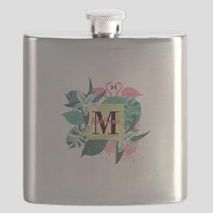 Personalized Flamingo Monogrammed Flask