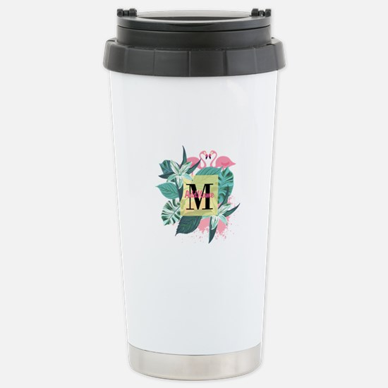 Personalized Flamingo M Stainless Steel Travel Mug