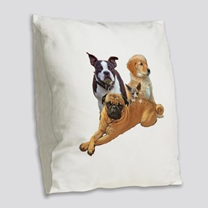 Dog posse with a hairless cat Burlap Throw Pillow
