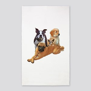 Dog posse with a hairless cat Area Rug