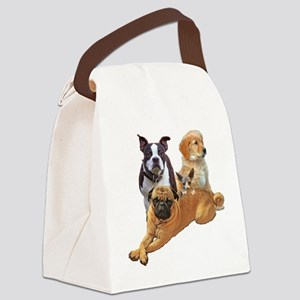 Dog posse with a hairless cat Canvas Lunch Bag