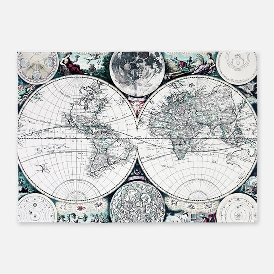 Antique World Map 5'x7'Area Rug