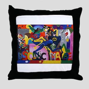 Colorful Sonic Man Graffiti Throw Pillow