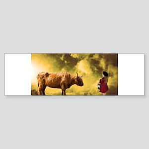 Girl Meets Bull Bumper Sticker