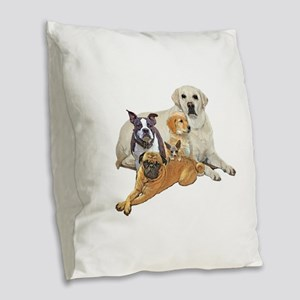 Dog posse with lab Burlap Throw Pillow