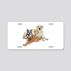 Dog posse with lab Aluminum License Plate