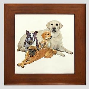 Dog posse with lab Framed Tile