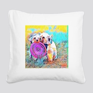 Frisbee Play Square Canvas Pillow
