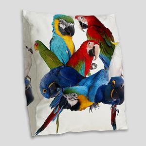 Parrots Burlap Throw Pillow