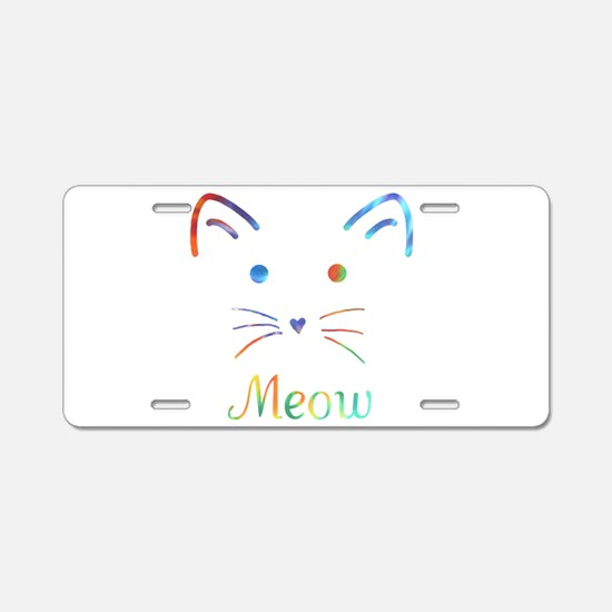 Meow Aluminum License Plate