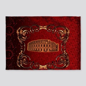 The collosseum on vintage background, red colors 5