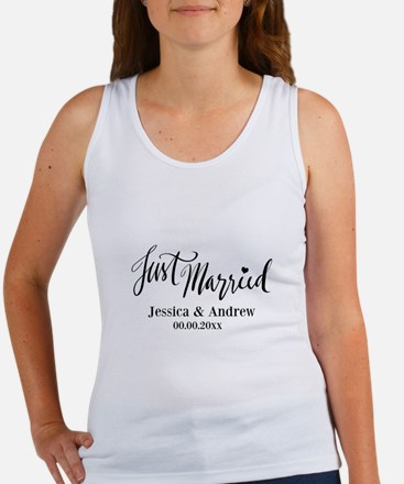 Just Married custom wedding Tank Top