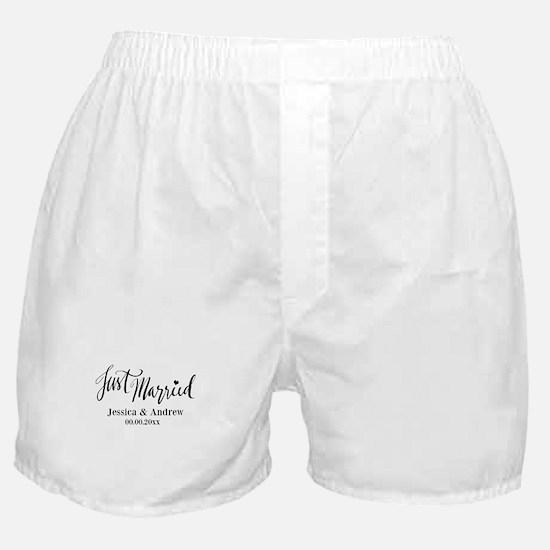 Just Married Custom Wedding Boxer Shorts Gift Idea