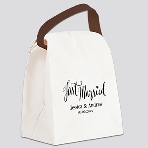 Just Married custom wedding Canvas Lunch Bag