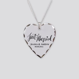 Just Married Personalized Necklace Heart Charm
