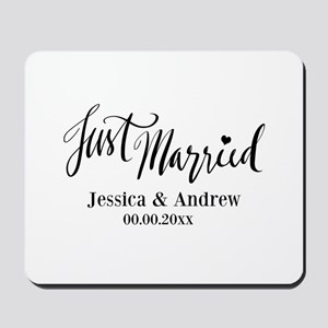 Just Married custom wedding Mousepad