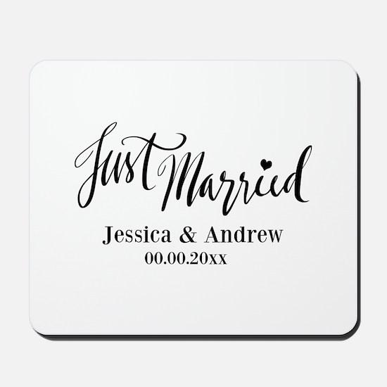 Just Married custom wedding Mousepad