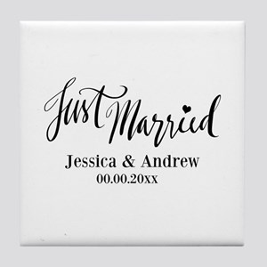 Just Married Hand Lettering Wedding Tile Coaster